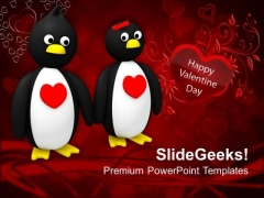 Penguin Couple Holding Hands PowerPoint Templates Ppt Backgrounds For Slides 0213
