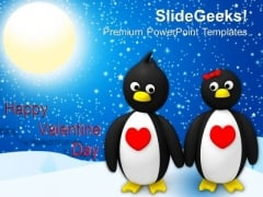 Penguin Couple Holding Hands Valentines Day PowerPoint Templates Ppt Backgrounds For Slides 0213
