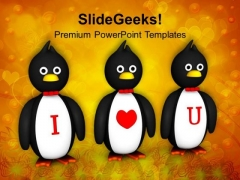 Penguins Showing I Love You Valentines PowerPoint Templates Ppt Backgrounds For Slides 0213