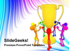 People Dancing Around Trophy Success PowerPoint Templates And PowerPoint Backgrounds 0311
