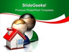 People Icon Home Real Estate PowerPoint Themes And PowerPoint Slides 0911