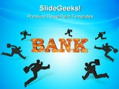 People Running Towards Bank Finance PowerPoint Themes And PowerPoint Slides 0511
