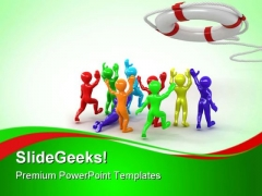People Running Towards Help Business PowerPoint Themes And PowerPoint Slides 0411