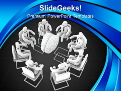 People Sitting Around Human Brain PowerPoint Templates Ppt Backgrounds For Slides 0713
