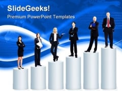 People Standing On Graph Business PowerPoint Templates And PowerPoint Backgrounds 0311
