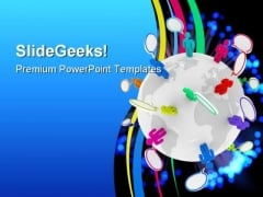 People Talk Globe PowerPoint Template 0610