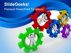 People Turning In Gears Industrial PowerPoint Template 1110
