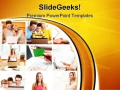 People With Laptop Computer PowerPoint Themes And PowerPoint Slides 0911