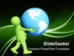 Person Carrying In Hands Globe PowerPoint Templates And PowerPoint Backgrounds 0311