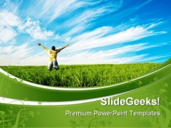 Person Enjoying Freedom Nature PowerPoint Themes And PowerPoint Slides 0711