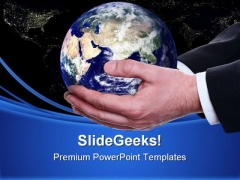 Person Holding Earth Globe PowerPoint Templates And PowerPoint Backgrounds 0411