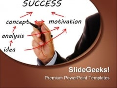 Person Showing Success Chart Business PowerPoint Templates And PowerPoint Backgrounds 0411