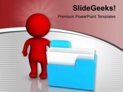 Person Standing Beside Computer Folder PowerPoint Templates Ppt Backgrounds For Slides 1212