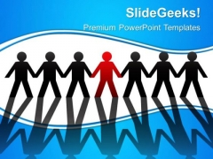 Person Standing In Row Leadership PowerPoint Templates And PowerPoint Themes 0312