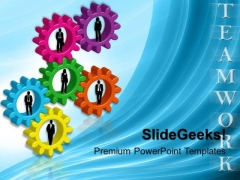 Person Standing On Gears Teamwork PowerPoint Templates And PowerPoint Themes 0412