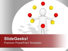 Person With Colored Balls Entertainment PowerPoint Templates Ppt Backgrounds For Slides 0313