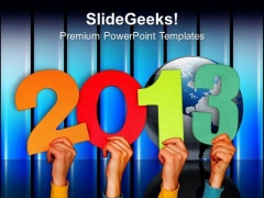 Persons Holding 2013 In Hands New Year Concept PowerPoint Templates Ppt Backgrounds For Slides 1112