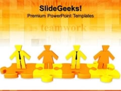 Persons Standing On Puzzle Teamwork PowerPoint Templates And PowerPoint Themes 0712