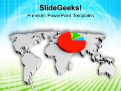 Pie Chart On World Map PowerPoint Templates Ppt Backgrounds For Slides 0713