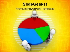 Pie Chart Result Discussion With Team PowerPoint Templates Ppt Backgrounds For Slides 0613