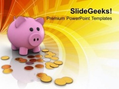 Piggy Bank And Dollar Coins Savings PowerPoint Templates Ppt Backgrounds For Slides 0213