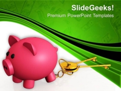 Piggy Bank And Keys Saving And Banking PowerPoint Templates Ppt Backgrounds For Slides 0413