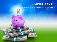 Piggy Bank And Notes Investment PowerPoint Templates Ppt Backgrounds For Slides 0213