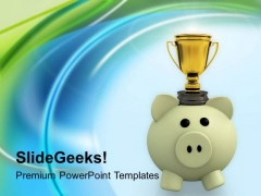 Piggy Bank And Trophy Winner PowerPoint Templates Ppt Backgrounds For Slides 0313