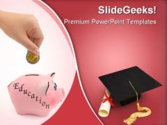 Piggy Bank Education PowerPoint Themes And PowerPoint Slides 0411