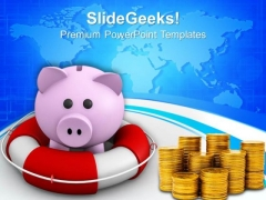 Piggy Bank In Lifesaver Savings Concept PowerPoint Templates Ppt Backgrounds For Slides 0113