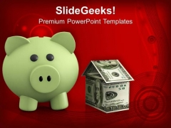 Piggy Bank Investment Savings Real Estate PowerPoint Templates Ppt Backgrounds For Slides 0213