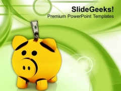 Piggy Bank Isolated Investment Theme PowerPoint Templates Ppt Backgrounds For Slides 0413