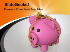 Piggy Bank Locked With Chain PowerPoint Templates Ppt Backgrounds For Slides 0713