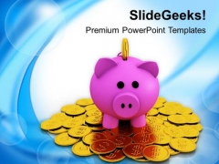 Piggy Bank On Dollar Coins Savings PowerPoint Templates Ppt Backgrounds For Slides 0213