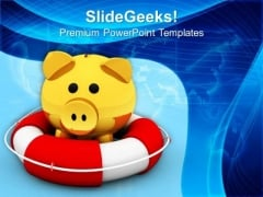 Piggy Bank On Lifeguard Savings Life PowerPoint Templates Ppt Backgrounds For Slides 0113