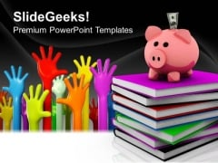 Piggy Bank Over A Stack Of Colorful Books Success PowerPoint Templates And PowerPoint Themes 0812