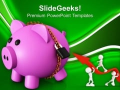 Piggy Bank Secured With Padlock And Chain PowerPoint Templates Ppt Backgrounds For Slides 0213