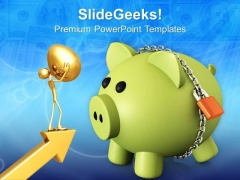 Piggy Bank Secured With Padlock Business PowerPoint Templates Ppt Backgrounds For Slides 0213