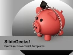 Piggy Bank With Chain Lock Saving PowerPoint Templates Ppt Backgrounds For Slides 1212