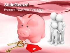 Piggy Bank With House Keys Family PowerPoint Themes And PowerPoint Slides 0511