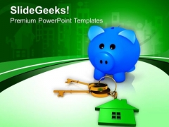 Piggy Bank With House Keys Security PowerPoint Templates Ppt Backgrounds For Slides 0213