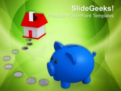 Piggy Bank With House Real Estate PowerPoint Templates And PowerPoint Themes 0812