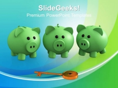 Piggy Bank With Key Business PowerPoint Templates And PowerPoint Themes 0912