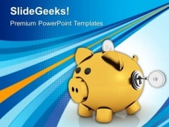 Piggy Bank With Lock And Key PowerPoint Templates Ppt Backgrounds For Slides 0113
