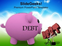 Piggy Bank With Man Carrying Debt PowerPoint Templates Ppt Backgrounds For Slides 0213