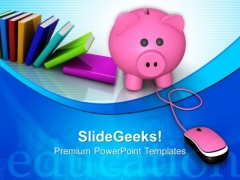 Piggy Bank With Mouse Internet PowerPoint Templates And PowerPoint Themes 0812