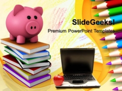 Piggy Bank With Notebook Technology PowerPoint Templates And PowerPoint Themes 1012