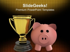 Piggy Bank With Trophy Savings Winner PowerPoint Templates Ppt Backgrounds For Slides 0113