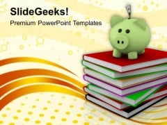Piggy Over A Stack Of Books PowerPoint Templates Ppt Backgrounds For Slides 0113
