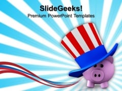 Piggy Wearing Patriotic Hat Americana PowerPoint Templates And PowerPoint Themes 0812